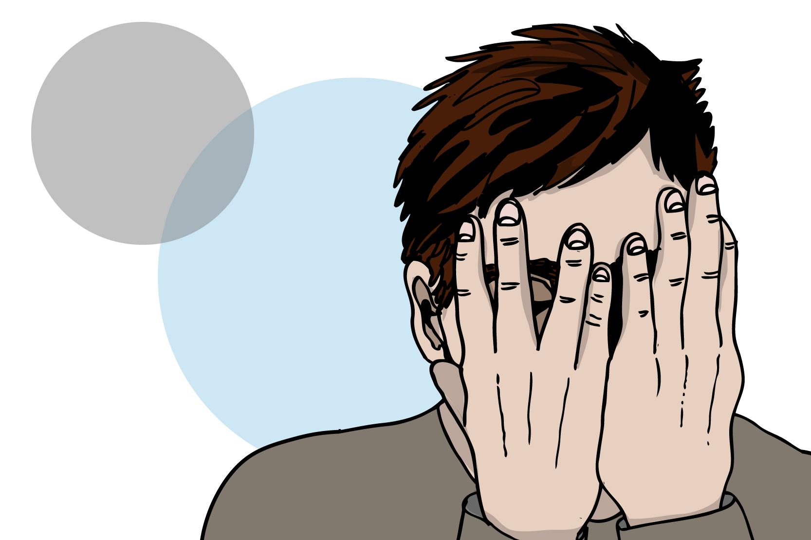 En person som blundar och gömmer ansiktet i sina händer. Illustration.