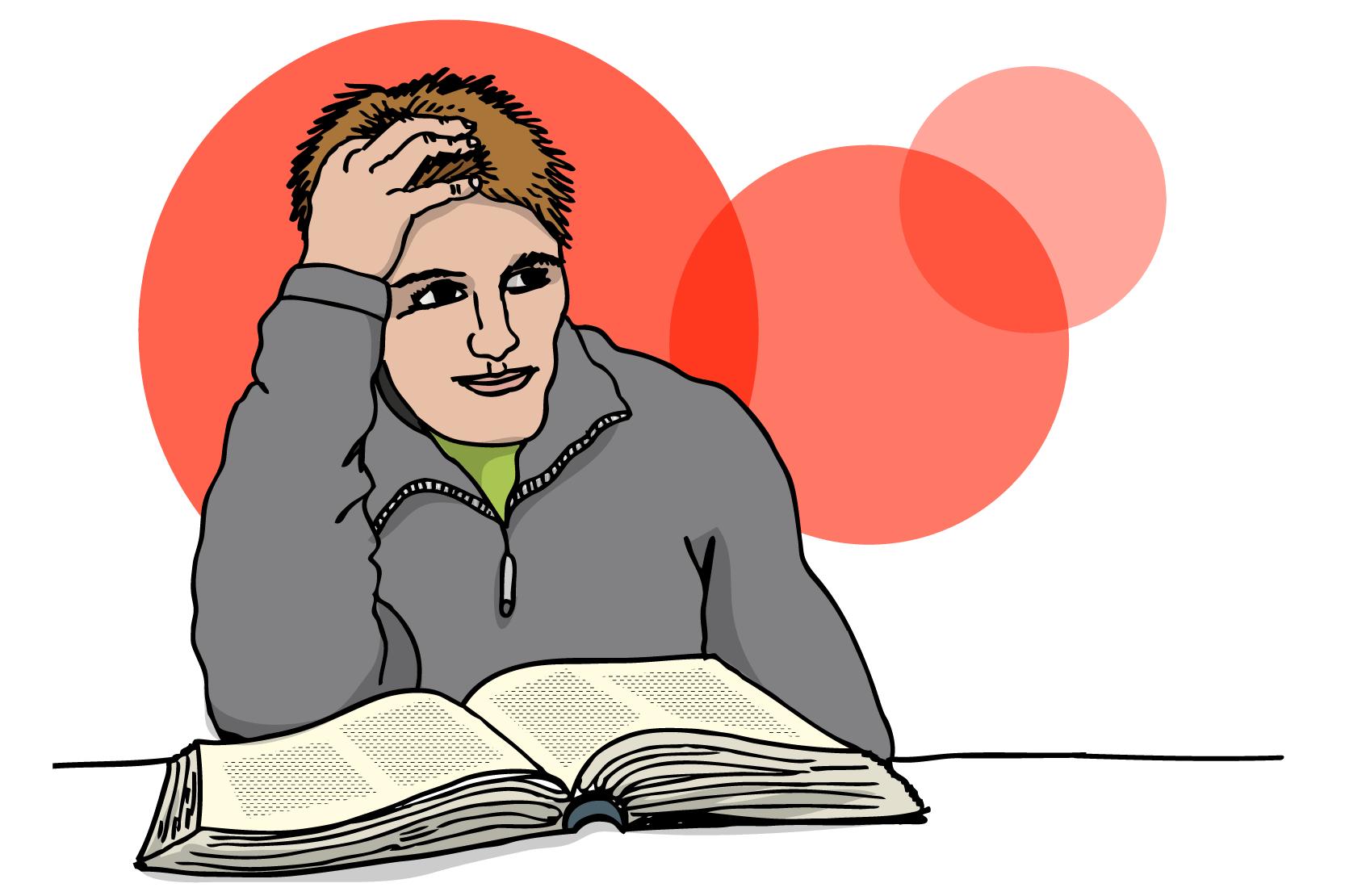 En person sitter och tänker. Illustration.